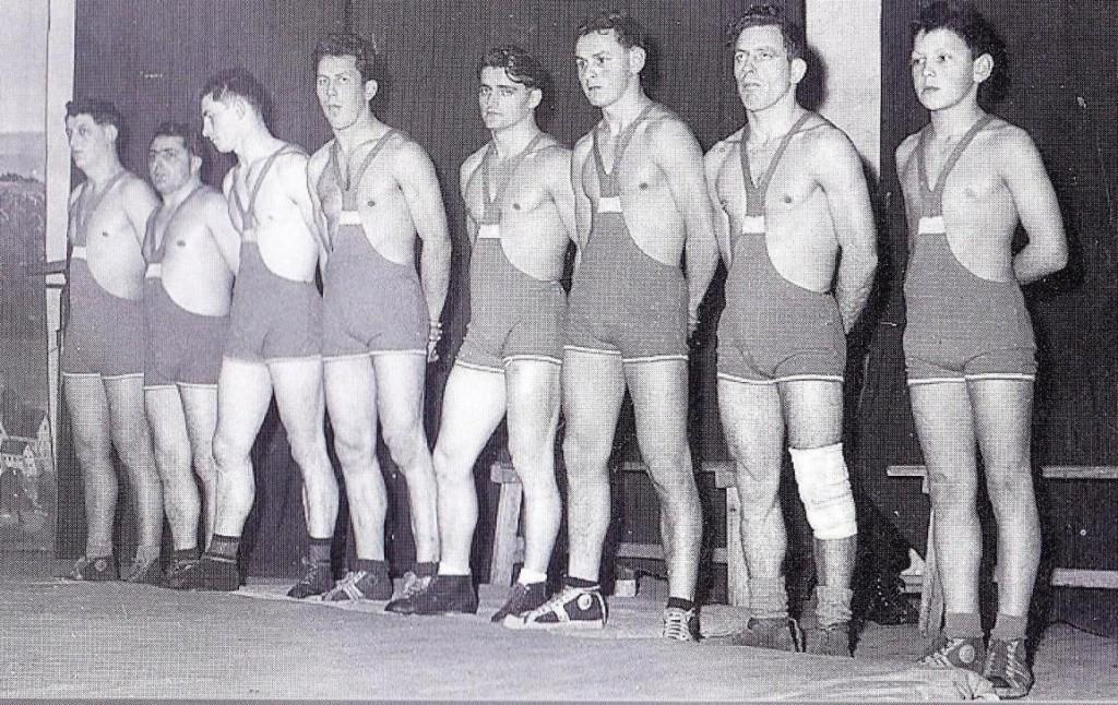 Die Mannschaft des KSV Götzis bei einem Vergleichskampf mit dem ESV Hallein im Jahre 1959